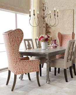 "NM EXCLUSIVE ""Liday"" Dining Table, ""Benjamin"" Linen Chair, and Pink Damask Wing Chair"