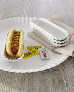 "Melamine ""Paper"" Hot Dog Trays & Platter"