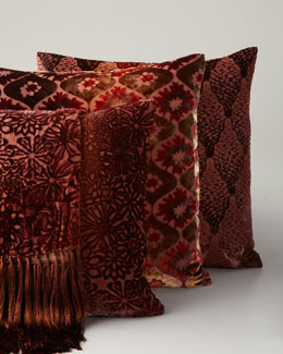 Kevin O'Brien Studio Orange Velvet Throw & Pillows