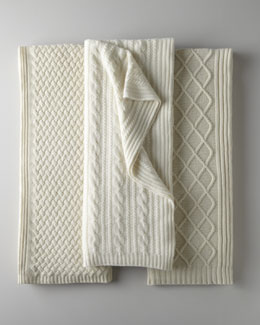 Sofia Cashmere Ivory Cashmere Knit Throws