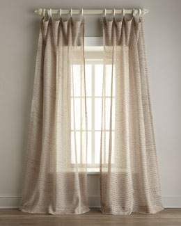 Script-Print Sheer Linen Curtains