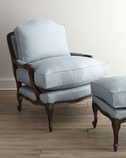"Old Hickory Tannery ""Ellsworth"" Collection Bergere Chair & Ottoman"