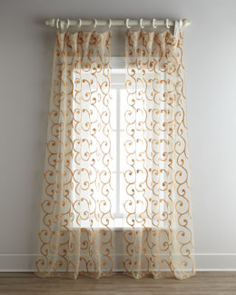 "Dian Austin Couture Home ""Boucle Scroll"" Sheer Curtains"
