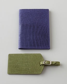 Crocodile-Embossed Luggage Tag & Passport Cover