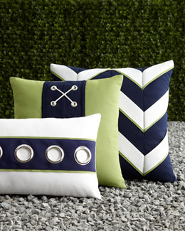 ELAINE SMITH Navy & White Outdoor Pillows