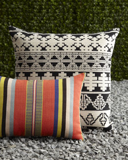 "ELAINE SMITH ""Poncho Stripe"" & ""Notre Dame"" Outdoor Pillows"