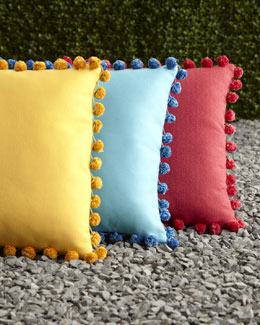 ELAINE SMITH Reversible Outdoor Pom Pom Pillows