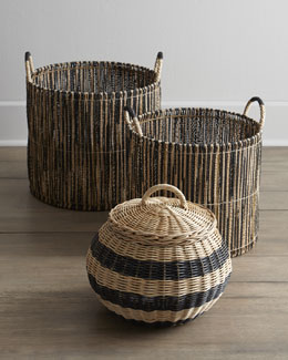Woven Baskets with Black Accents