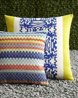 "ELAINE SMITH Cobalt Block & ""Mayan Ruins"" Outdoor Pillows"