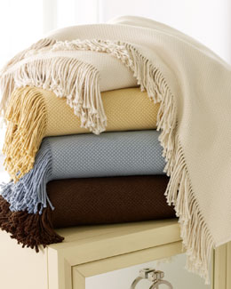 "SFERRA Fringed Cotton/Alpaca Throw, 51"" x 71"""