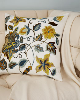 "SFERRA Crewel Embroidered Pillow, 21""Sq."