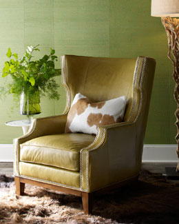Massoud Green Leather Chair