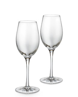 "Waterford Crystal Two ""Light"" White Wine Glasses"