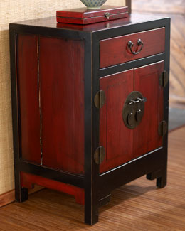 Antique Red & Black Side Cabinet