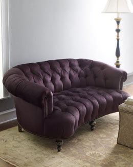 "Old Hickory Tannery ""Midnight Black"" Tufted Sofa"
