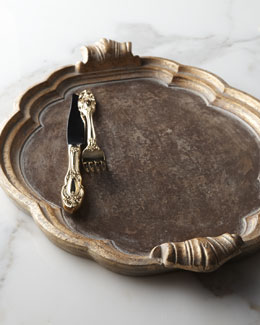 Oval Golden-Handled Wood Charger Plate