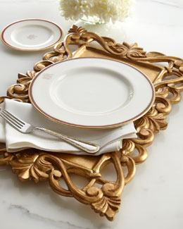 Golden Carved-Wood Placemat