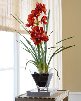 John-Richard Collection Red Orchid in Glass Planter Faux-Floral Arrangement