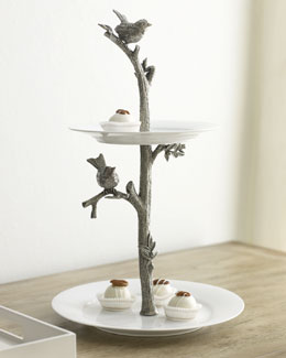 "Vagabond House ""Bird"" Two-Tier Dessert Stand"