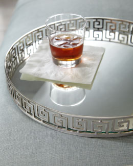 Silvery Greek-Key Tray