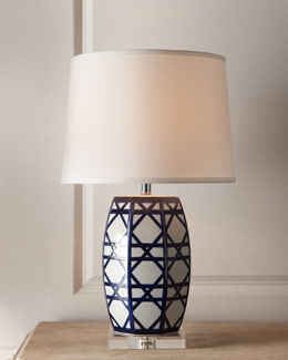 "Navy ""Latticework"" Lamp"