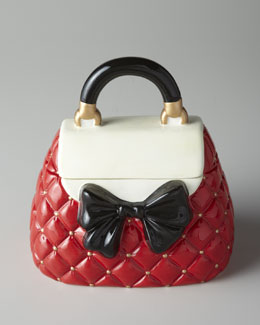 Red and White Bow Purse Cookie Jar