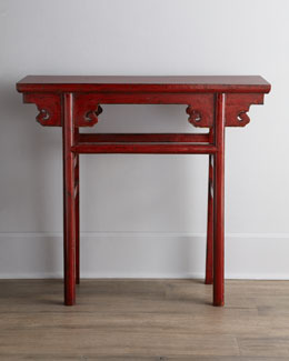 Red Antique Wooden Table