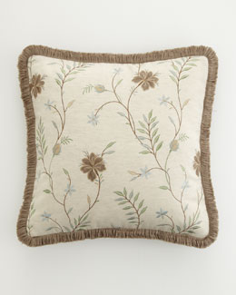 "18""Sq. Embroidered Floral Pillow w/ Fringe"