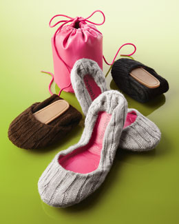 CitySlips Cable-Knit Foldable Ballet Flats