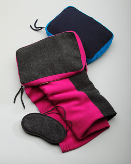 Sofia Cashmere Colorblocked Travel Throw & Case