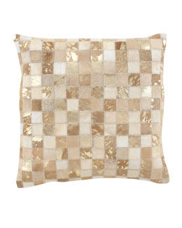 Hairhide Mosaic Metallic Pillow