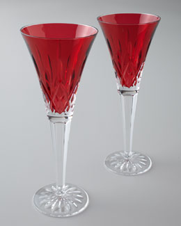 "Waterford Two ""Lismore Jewels"" Ruby Toasting Flutes"