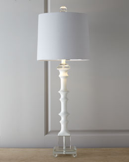 "White ""Bamboo"" Table Lamp"