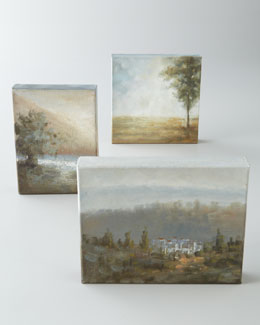 "John-Richard Collection Three ""Misty Trees"" Oil Paintings"