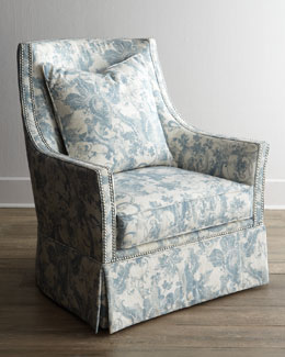 "Massoud ""Mystic Blue"" Skirted Chair"