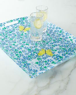 "Paule Marrot Editions ""Forget-Me-Not"" Acrylic Tray with Handles"