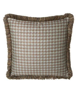 Dian Austin Villa Houndstooth European Sham with Brush Fringe