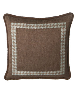 Dian Austin Villa Tweed & Houndstooth European Sham with Faux-Suede Trim