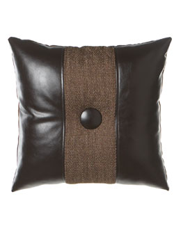 "Dian Austin Villa 20""Sq. Faux-Leather & Tweed Pillow with Button"