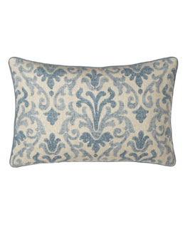 "Jane Wilner Designs Blue Damask Pillow, 14"" x 21"""
