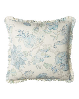 "Legacy Home Ruffled Floral Pillow, 20""Sq."