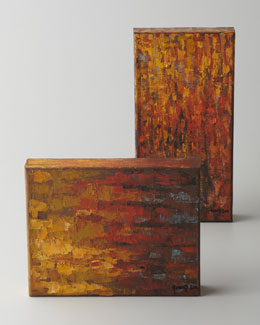 John-Richard Collection Two Fiery Red/Orange Oil Paintings