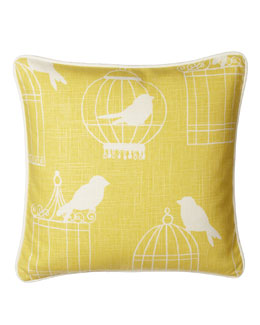 "French Laundry Home Yellow Pillow w/ Bird Print, 20""Sq."