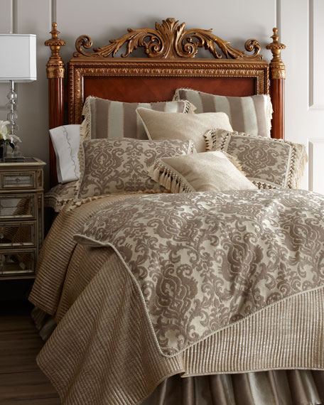 King Channel-Quilted Gold Coverlet