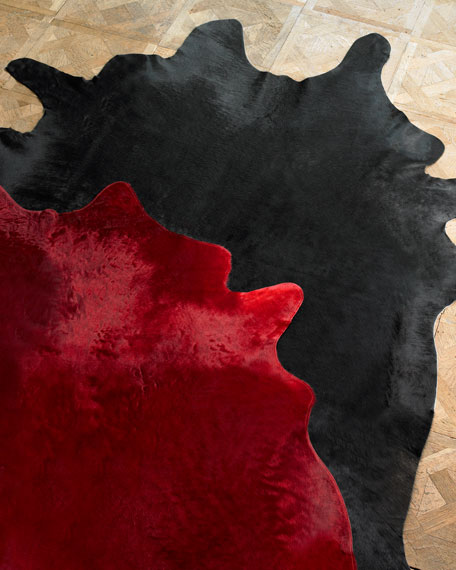 Solid Red Cowhide Rug