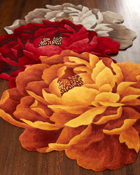 """Bria"" Floral Rug, 3' Round"