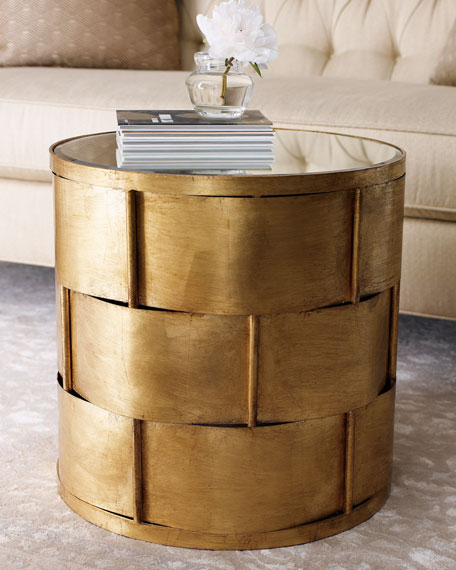 Woven Antiqued Gold-Leafing Side Table
