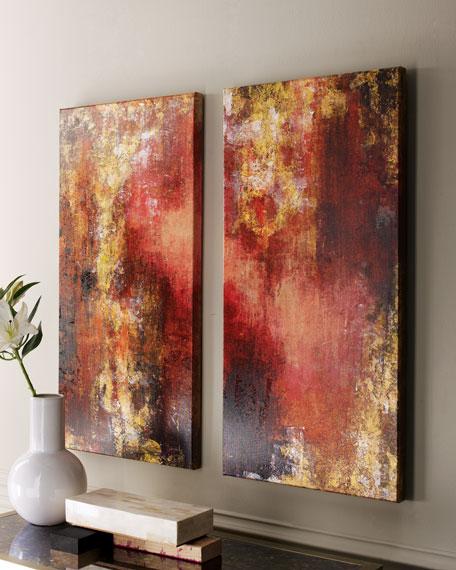 """Rosenbaum Fine Art Set Of Two """"Lava Lamp"""" Paintings"""