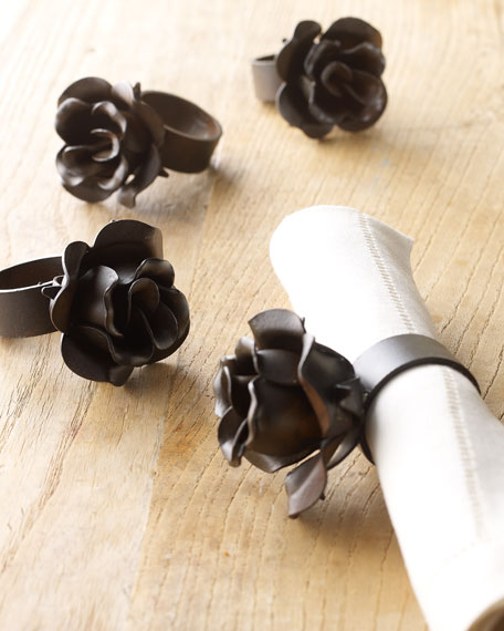 "Two ""Rose"" Napkin Rings"