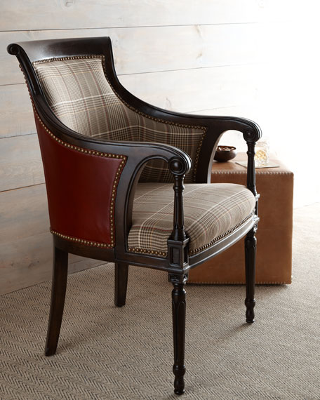 """Farron"" Plaid & Leather Chair"